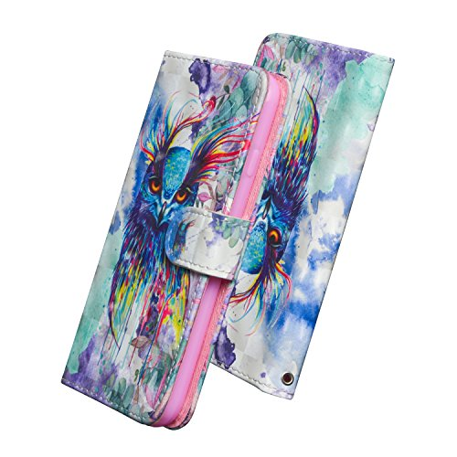HUDDU Compatible for Eule Handyhülle Nokia 5 Hülle Flip Wallet Case Ledertasche Kartenfach Magnet Stand Notebook Schutz Lederhülle Etui Handy Cover Schutzhülle Tasche Leder Klapphülle Bunt - 3D Design