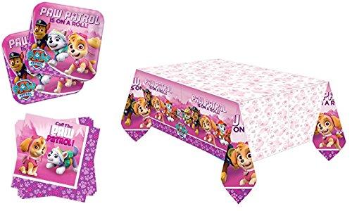 ty Paw Patrol/Dekoration- Servietten, Tischdecke, große Teller - 29-teiliges Party-Set - T8 Kinder - Pink (PP02) ()