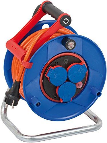 Brennenstuhl Garant Bretec IP44 Kabeltrommel (25m - Spezialkunststoff, Einsatz im Außenbereich und rund ums Haus, Made In Germany) blau