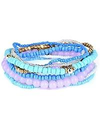 JAJAFOOK Mode Multicouche Perles Stretch Bracelets Bohème Ensemble de Bijoux pour Femmes Filles