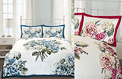Nimsay Home Bloomsbury Floral Oxford Style Flanged Duvet Cover & Pillowcase Bed Linen Set - low-cost UK light shop.