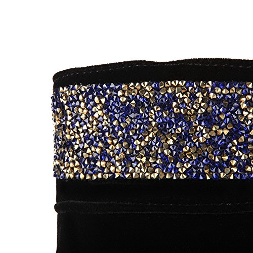 AgooLar Femme à Talon Haut Haut Bas Couleur Unie Zip Bottes avec Passepoil à Diamant Verre Noir