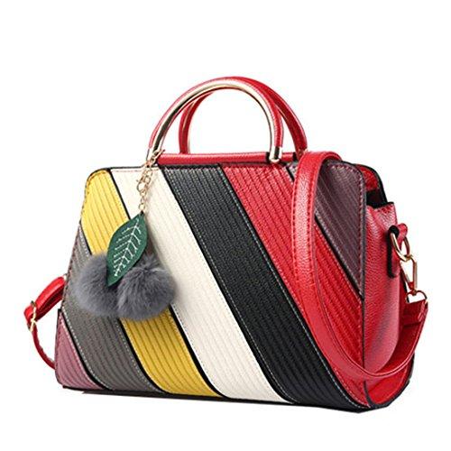 Wewod Las Mujeres Bolsos de Bandolera Bolso Mensajero PU Cuero Tote Bag,Impresión Patrón de Flores 29 x 22.5 x 14 cm (L*H*W) (Rojo-a)