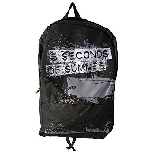 5sos-5-seconds-of-summer-backpack-bag-distressed-splatter-logo-officiel-noir