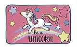 Desconocido Alfombra DE BAÑO Unicornio 45X75CM :Polyester (Franela+Esponja+Puntos Antideslizantes)