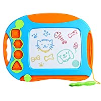 VICTSING Magnetic Drawing Board, Erasable Colorful Magna Doodle Drawing Board Toys for Kids with 4 Stamps and 1 Pen, Writing Sketching Pad - Gift for Little Boys Girls Kids Children, Travel Size