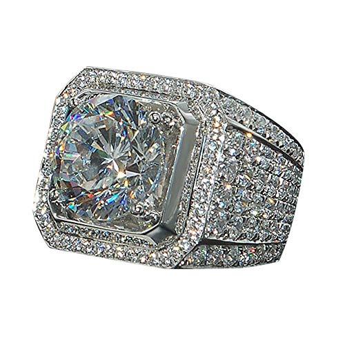 Cwemimifa Edelstahl Ringe für Männer Frauen, Frauen Männer Modeschmuck Accessoires Brilliant Natural White Sapphire Di, Silber, 8#