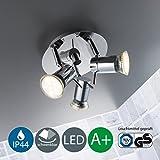 Plafoniera LED da soffitto, lampada moderna da soffitto con 3 faretti orientabili, plafoniera per bagno resistente agli schizzi, include 3 lampadine GU10 3W luce calda, metallo cromato, 230V IP44