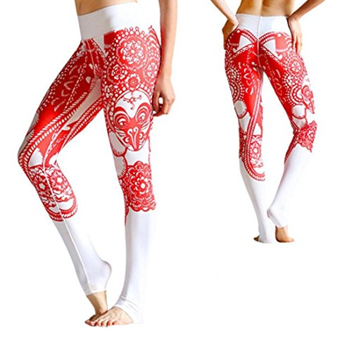 TWIFER Frauen Drucken Yoga Skinny Workout Gym Leggings Fitness Sport Volle Hose (Rot, S)