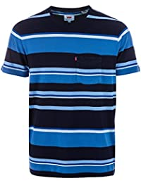 Levi's Mens Sunset Pocket Stripe T-Shirt In Blue Navy- Ribbed Collar- Pocket To