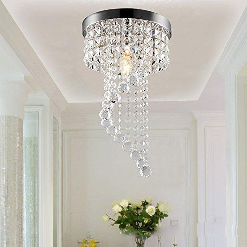 LED Runde Silbern Kristalllampe Gang Deckenleuchte Modern Edelstahl Esszimmer Schlafzimmer Hängeleuchte Modernen Einfache Design Coole Flure Deckenlampe Balkon Metall Kronleuchter E14 Küchenlampe