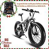 Extrbici Vélo électrique XF800 1000W 48V 13A VTT électrique à Vente Limitée Mondiale Support de Charge USB avec Suspension Complète et LCD Intelligent & Gros Pneu 26 x 4.0 (Noir Blanc)