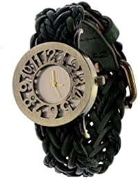 GOBU Metal Dial Analog Watch With Attractive Leather Strap For Women - Black