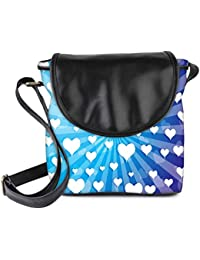 Snoogg Flying Hearts On Blue Background Womens Sling Bag Small Size Tote Bag