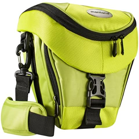 Mantona Premium - Funda para cámara reflex (correa para hombro, cierre de cremallera y clip), color verde