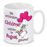 Herzbotschaft Tasse mit Motiv Modell Die Schönsten Einhörner-August, Keramik, Weiß, 11 x 11 x 11 cm