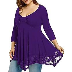 VJGOAL Las Mujeres Forman la Camisa del cordón del tamaño Grande Atractiva del O-Cuello de la Manga Larga Ocasionales de la Camisa de Color sólido de Las Tapas Blusa(5XL,Púrpura)