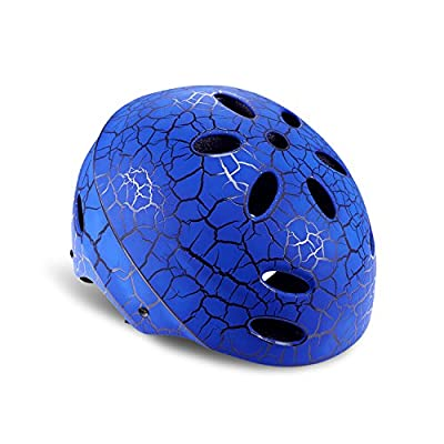 Kuyou Kids Skateboard Helmet Scooter Helmet Protective Gear Roller Skating Scooter Cycling Bike Helmet Adjustable Size for 3-8 Year Old Youth Boys and Girls(Black/Red/Blue, 52-56cm)