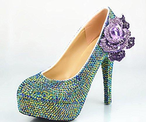 YCMDM Femmes Grande Taille Foret Purple Phoenix Nouveau Mariage Chaussures Avec Ronde Haut Avec Des Chaussures Rondes 14cm
