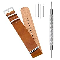 CIVO PU Leather NATO Zulu Military G10 Watch Band Strap 18mm 20mm 22mm with TOP Spring Bar Tool and Spring Bars Bonus (Brown, 18mm)