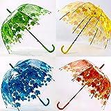 Strollway Badmöbel Zubehör Blätter-Regenschirm, bunter Transparenter Wind-Sonnen-Regenschirm-Halbe Selbsthauben-Regenschirm-Blätter Drucken Regen-Gang (Farbe : Yellow)