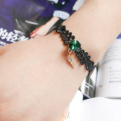 YAZILIND Weinlese-Schmucksache-gotisches Lolita Art-reizend Kegel-Dreieck-hängendes schwarzes Armband für (Outfit Kegeln)