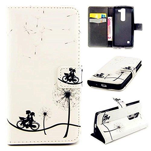 KSHOP Case Cover per LG Magna H502F H500F C90 H520N Custodia PU pelle Funzione di Sostegno Stand con la Copertura del Raccoglitore per la Carte Chiusura Magnetica+ Penne Capacitive Stylus penna Nero per dispositivi touchscreen - Bicicletta e coppie