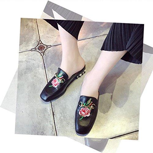 DM&Y 2017 Bee signora ricamo sandali primavera ed estate Baotou semirimorchio con perle con le scarpe single marea peony