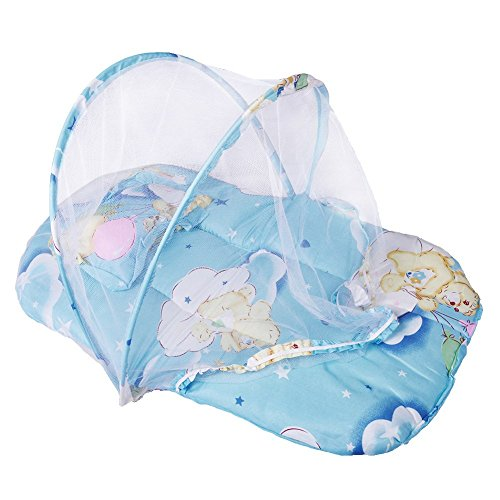 Bluelover nuovo pieghevole bambino cotone imbottito materasso cuscino letto caldo zanzariera presepe tenda - blu