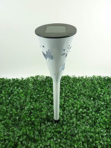 Solarspieß Capri wunderschöne LED Solar Garten-Wegeleuchte, Metall weiss lackiert mit schönen eingestanzten Mustern, inklusive Erdspieß