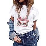 TEBAISE Damen T-Shirt O-Ausschnitt Kurzarmshirt Freizeit Druken Oberteile Frauen Tops Ladies 2019 Sommer Tee Bluse Boyfriend Stil mit Modern Druck Shirt Streetwear Tops Hemd Mode Lose lässige Kurzarm