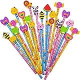 JZK 24 x Schule HB Stifte Set, Bleistifte mit Radiergummi von Tiere Blumen Sonne Schmetterling etc für Geburtstag Mitgebsel Geschenk Kinder Party Gastgeschenk