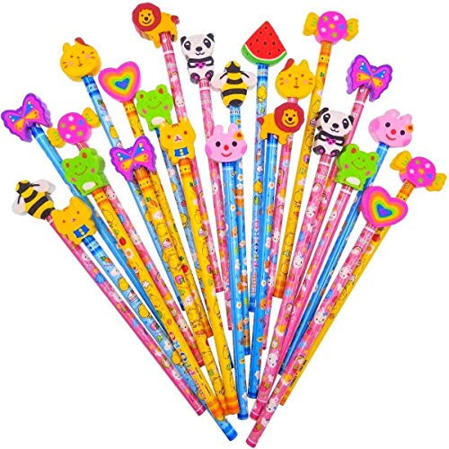 Jzk set 24 matita in legno con gomma matite grafite colorate con gomme bomboniera regalino per festa bambini compleanno battesimo comunione regalo compleanno regalo natale per bambina bambino