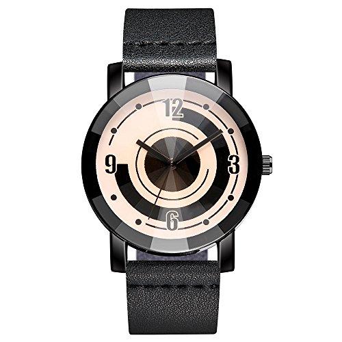 LABIUO Casual Leder Dornschließe Quarzuhr Stilvolles Rundes Glaszifferblatt Digitale Zeiger Uhr(Schwarz,Freie Größe)