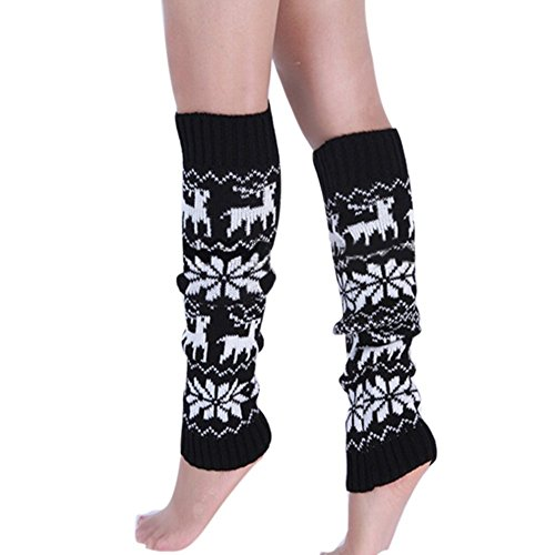 Butterme Womens Damen Winter warme Knit Häkelarbeit Bein Wärmer Knie hohe Gamaschen Nette Rotwild-und Schneeflocke Muster-Aufladungs-Socken (Socke Socken Knie Flach)