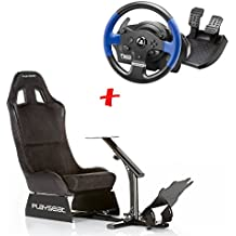 MadridGadgetStore® Pack Playseat Evolution Alcantara + Volante + Pedales Thrustmaster T150 RS para PlayStaion 4 3 Xbox One 360 Mac PC Wii