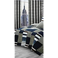 "Velosso One Pair 66"" x 72"" Curtains plus Tiebacks Denim Patchwork Checkered matches Bedding set (66x72 curtain pair)"