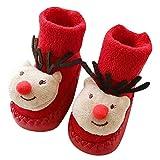 TAOtTAO Kinderkinderschuhbodensocken des Weihnachtskarikaturtierdruckes rutschfeste rutschfeste Neugeborenes Baby-Jungen-Mädchen-Weihnachtsboden-Socken Anti-Rutsch-Baby-Schritt-Socken (E, 12)