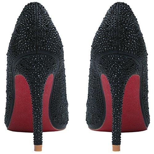 HooH Femmes Escarpins Bling Diamants bout pointu Semelle rouge Talons hauts Et Ballerines Mariage Chaussures Noir