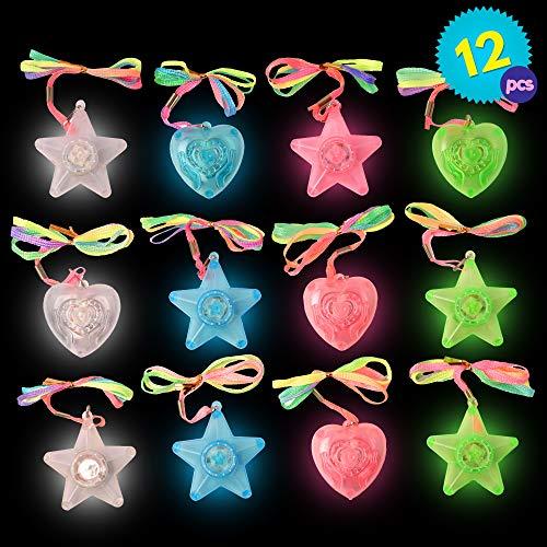 12 LED Kunststoff Blinklichter Halsketten Anhänger Herz unc Sterneformen - Verschiedene Farben - Ideal für Party & Dekoration Mitgebsel Geschenktaschen - Weihnachten, Halloween Geschenke - Partys etc.