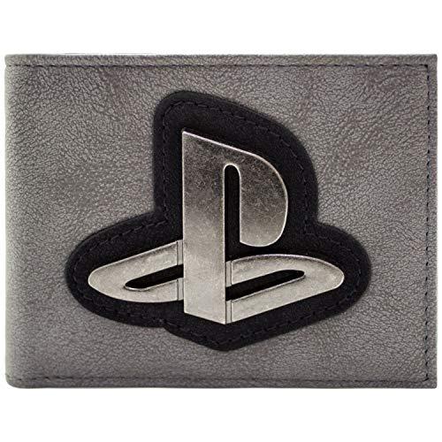 Playstation Originales Logo Silber Abzeichen Grau Portemonnaie Geldbörse