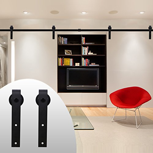 200lb Roller (LWZH 7FT Double Sliding Barn Door Hardware Kit (Black J-Shaped Hangers))