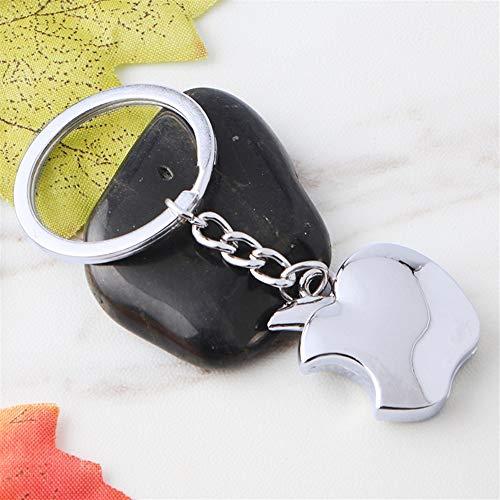 elanhänger Dekoration Glossy Apple Anhänger Metall Schlüsselring Handtasche Handtasche Auto Keychain Geschenk (Silber) ()