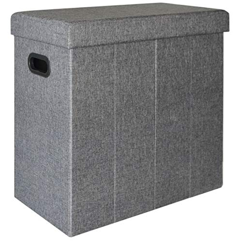 Dunedesign cesto della biancheria sporca bucato 70l portabiancheria pieghevole con coperchio pouf per sedersi rettangolare grigio