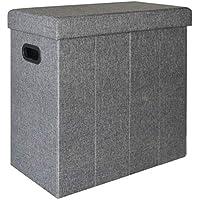 dunedesign Faltbarer Wäschekorb 70L Wäschetruhe mit Deckel Wäschebox mit Griffen Wäschesammler Leinen-Optik Grau