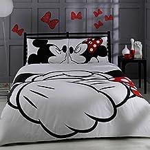 Disney Mickey & Minnie Adore, juego de cama, tamaño doble / Queen,conjunto funda de edredón, 100% algodón Ranforce tela. Producto con licencia original.