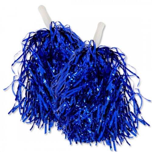 1 Paar Cheerleader Pom Poms Tanzwedel Puschel Tanzpuschel Wedel Pompoms in BLAU NEU