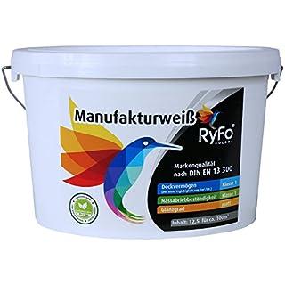 RyFo Colors Manufakturweiß 12,5l (Größe wählbar) - unsere beste Profi Wandfarbe, sehr ergiebige zertifizierte Innen-Dispersion, Innenfarbe weiß, hoher Weißgrad, Deckkraft Klasse 1, Nassabrieb Klasse 1