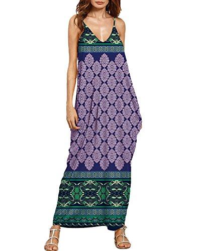 Auxo Damen Ärmellos V-Ausschnitt Kleider Lange Blumen Maxi Dress Lose Strandkleider 01-blau Streifenmuster XX-Large