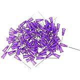 """Cnbtr Conector 1 """"plástico pegado de acero inoxidable Dispensing Industrial Blunt aguja de la aguja líquido Paquete de 100 (24ga púrpura)"""